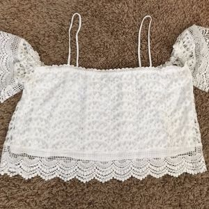 Charlotte Russe Lace Off the Shoulder Crop Top